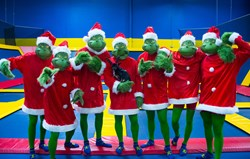 grinch, christmas, trampoline park
