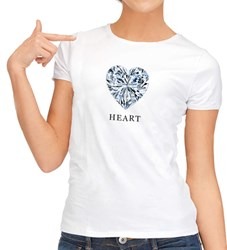 Heart shape diamond ladies fashion fitted t-shirt
