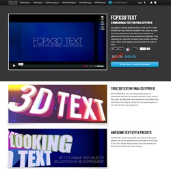3D Text, Final Cut Pro X, FCPX, Plugin, Effects, Pixel Film Studios