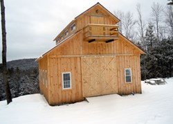 Award-winning barn built by Nicholas Spooner and his Wood-Mizer LT40 Hydraulic sawmill.