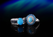 A pair of elegant Sleeping Beauty Turquoise Rings