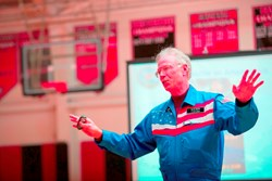 Dr. Gregory Olsen, entrepreneur, engineer, scientist, and the third private citizen to orbit Earth on the International Space Station, addressed The Hun School community on Tuesday, December 3rd as part of its Centennial Speaker Series.