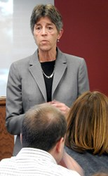Dr. Betsy Oudenhoven addresses Community College of Aurora staff, faculty and administration during a recent All-College Forum.