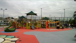 New Inclusive playground in Cuenca, Ecuador, was created by Shane's Inspiration and Landscape Structures Inc.