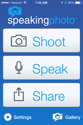 Simply SHOOT, SPEAK and SHARE via your iPhone or iPad