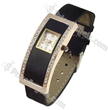 Fashionable Arch Rectangular Dial Leather Band Ladies Watch(Black)