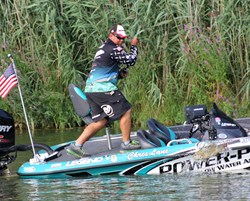 Chris Lane fishing with Swiftwick socks during his 2013 Bassmaster Elite Series win in Detroit.