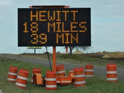 Portable travel time display unit in TxDOT Waco District.