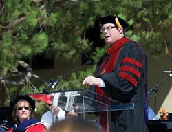 President Michael Beals of Vanguard University during higher educational convocation speech