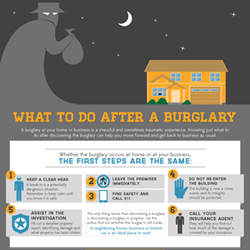 The steps you should take if your home or business is burglarized.