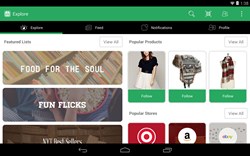 mobile shopping app on Android tablet