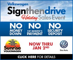 Sunrise Volkswagen Holiday Sign then Drive Event
