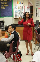 Pamela McCauley Bush Speaking to high school students on the benefits of pursuing STEM education