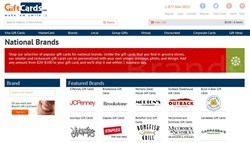 Screenshot of GiftCards.com's National Brands gift card page