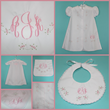 Consigned gown, blanket, bib set with the monogram AKJ available at www.MatchMyMonogram.
