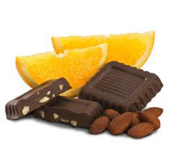 Few flavors bring out the wonderful complexity of dark chocolate as well as citrusy orange. Enjoy this foodie favorite combination of dark chocolate squares, filled with a bright, smooth orange flavor and crunchy almond pieces