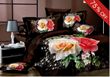 Yellow and Pink Roses Print Elegant Luxury Color 4 piece Duvet Cover Comfort Bedding Sets