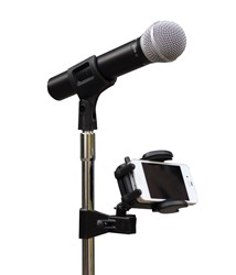 SMARTLOK clamped to microphone stand