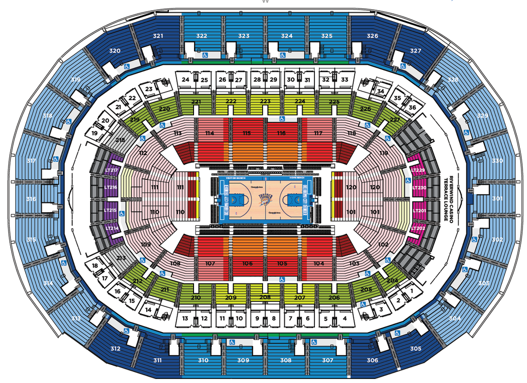 Chesapeake Energy Arena Seating Chart Parking And Oklahoma City Thunder Tickets Available At Ticket Monster