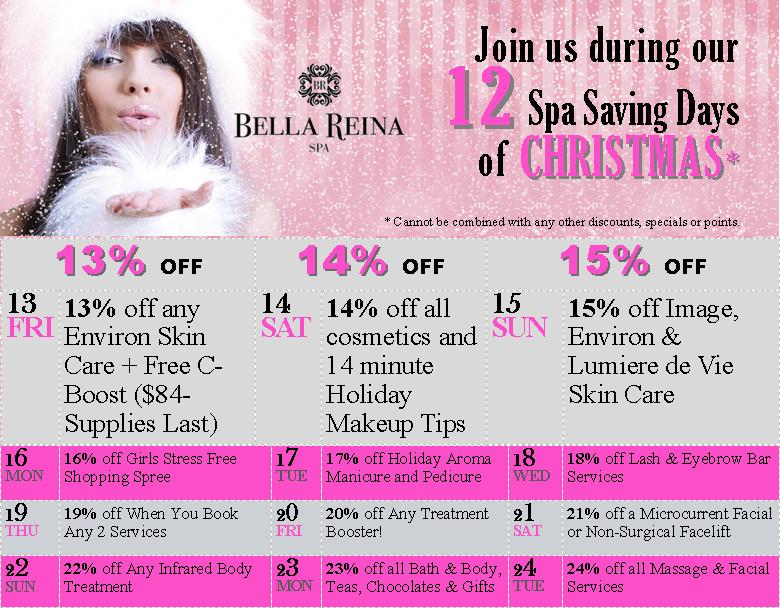Bella reina spa a delray beach beauty landmark fashions for 12 days of christmas salon specials