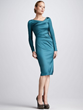 Brilliant A-Line Long Sleeve Wrap Zipper Satin Prom Dress