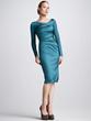 Brilliant A-Line Long Sleeve Wrap Zipper Satin Prom Dress