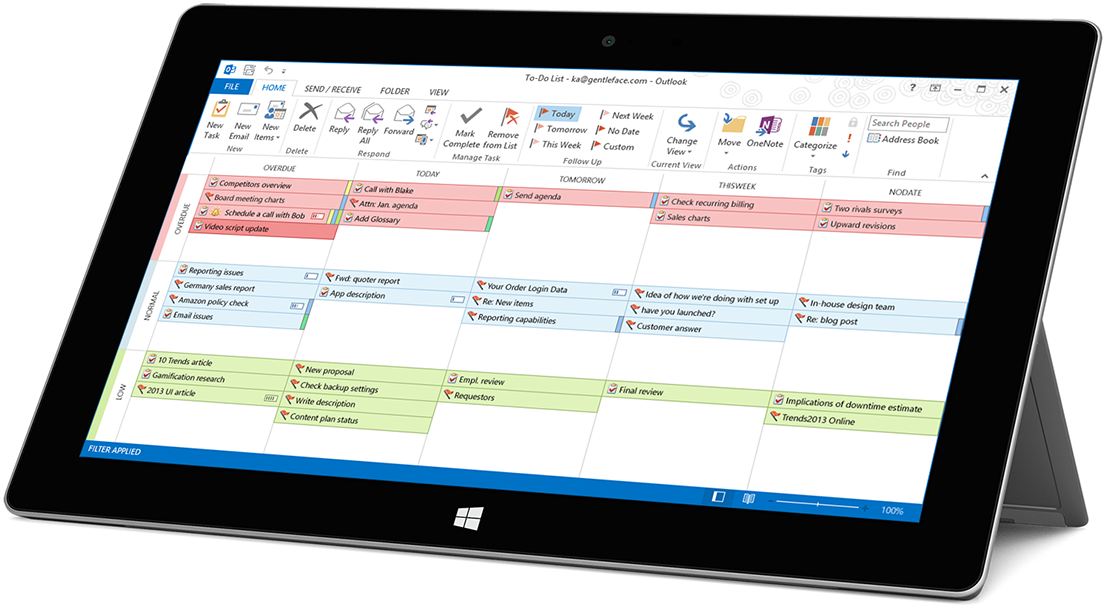 visual management of outlook tasks on surface pro tablets
