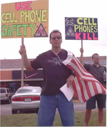 RF Safe pickets in front of cell phone store