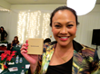 Actress/Humanitarian Cassandra Hepburn accepts Hero Goody Necklace from Goody Awards