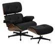 Flash Furniture HERCULES Presideo Series Top Grain Black Italian Leather Lounge Chair and Ottoman Set with Metal Base ZB-PRESIDEO-CH-001-OTT-BK-GG