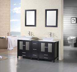 Design Element Arlington 61 Double Sink Bathroom Vanity Set (DEC072B)