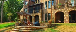 exterior stone walls and outdoor stone living spaces