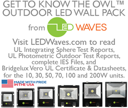 UL test reports available for the Owl Outdoor LED Wall Pack series from LED Waves