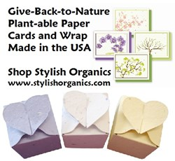 stylish organics offers cards & wrap from plantable seeded paper