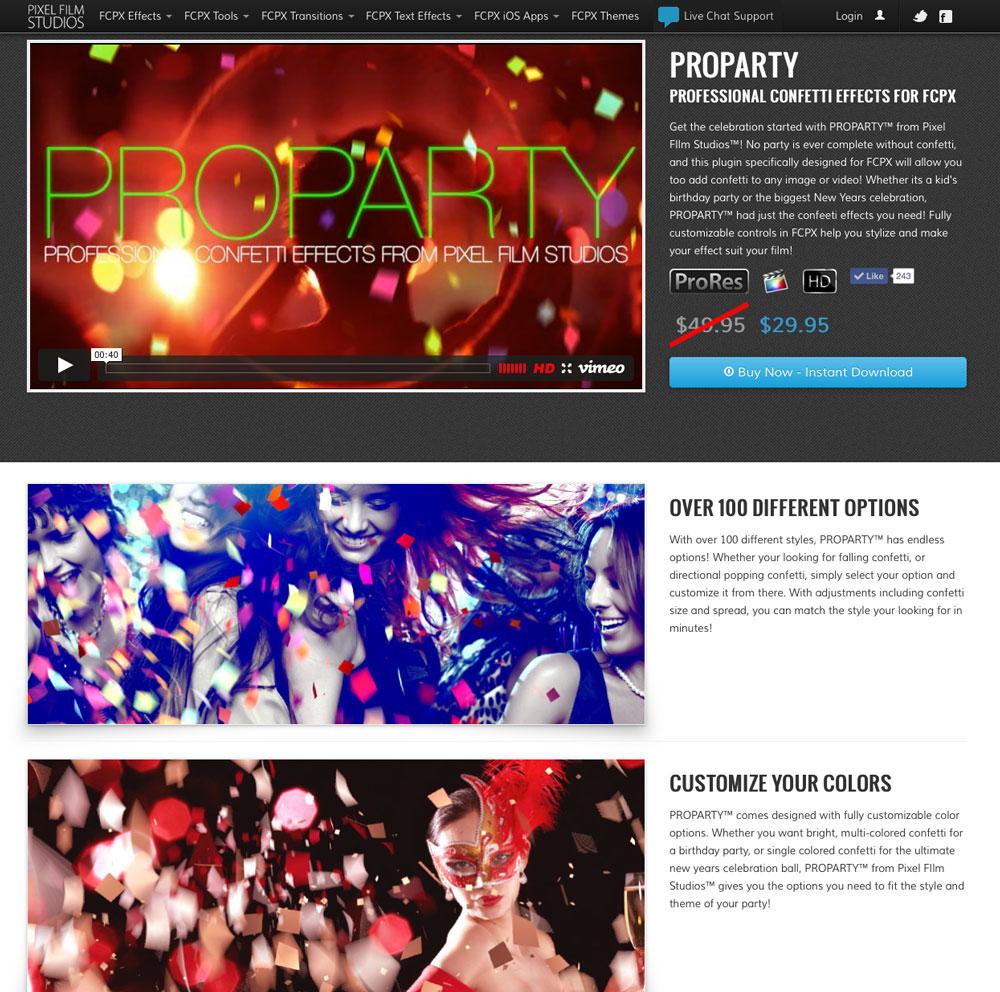 New ProParty Confetti Generator Plugin for Final Cut Pro X Released