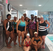 Wearing swimsuitsforall chlorine-resistant Aquabelle swimsuits for Water Aerobics Party