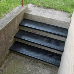 Made entirely from 100% recycled tires, Discount FloorMat Store's Outdoor Stair Treads are durable and economical - photo