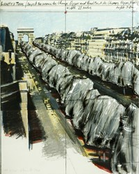 "Christo, ""Wrapped Trees, Project for Avenue des Champs Elysees, Paris"", color lithograph"