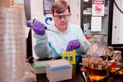 Todd Rider prepares DRACO antiviral therapeutics at Draper Laboratory