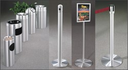 Glaro Satin Aluminum Receptactles, Posts, Signage and Lobby Furnishings