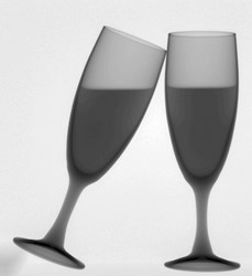 Digital X-ray image of Champagne Glasses with White Wine for the Holidays