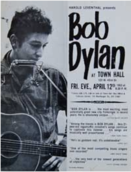 Original 1963 Bob Dylan Town Hall New York Boxing Style Concert Poster