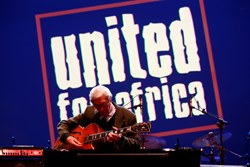 Jazz legend Franco Cerri performed at the annual United for Africa benefit concert December 19, 2013, at Teatro Carcano in Milan.