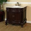 Bellaterra Home 34.6 in. Single sink vanity-wood-walnut-carrara white marble 202016A-S-WH