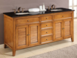 "Direct Vanity 6070D12-OBk 70"" Oak Shutter double vanity sink cabinet with black granite"