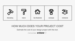 Arcbazar's cost estimator tool for home remodeling projects