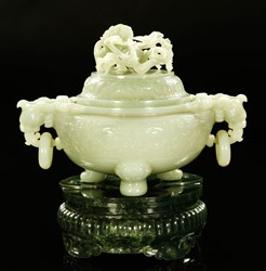 Monumental jade censer, China, Qing Dynasty (1644-1911), carved from a single piece of even white or pale celadon colored jade.