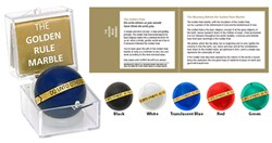Golden Rule Marble Gift Set - acrylic marble with inscribed brass band