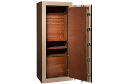Bullion Gold Metallic Jewelry Safe with Mahogany Wood Drawers