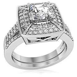 Diamond Princess Cut Wedding Set from InspiredSilver.com